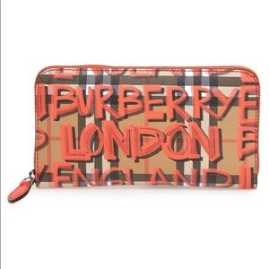 Graffiti Print Calfskin Leather Zip Around Wallet